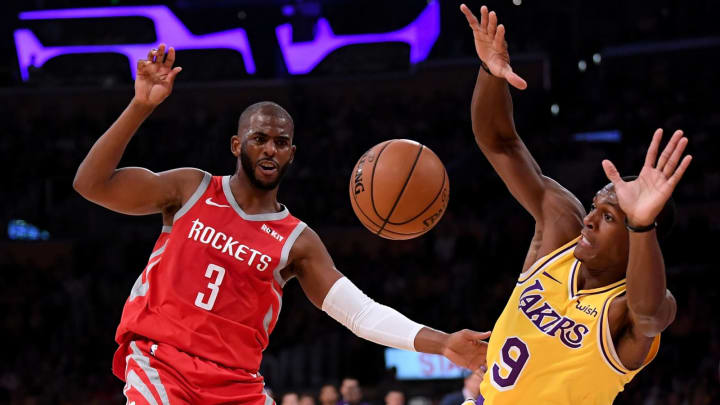 LOS ANGELES, CA – OCTOBER 20: Chris Paul #3 of the Houston Rockets reacts to a foul from Rajon Rondo #9 of the Los Angeles Lakers during the second quarter at Staples Center on October 20, 2018 in Los Angeles, California. (Photo by Harry How/Getty Images)