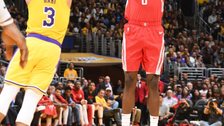 LOS ANGELES, CA – OCTOBER 20: James Ennis III #8 of the Houston Rockets shoots the ball against the Los Angeles Lakers on October 20, 2018 at STAPLES Center in Los Angeles, California. NOTE TO USER: User expressly acknowledges and agrees that, by downloading and/or using this Photograph, user is consenting to the terms and conditions of the Getty Images License Agreement. Mandatory Copyright Notice: Copyright 2018 NBAE (Photo by Andrew D. Bernstein/NBAE via Getty Images)