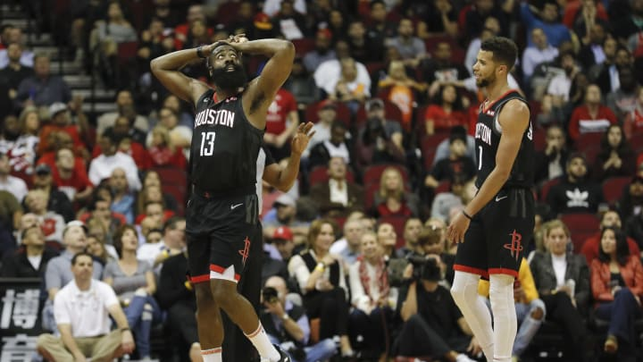 James Harden #13 of the Houston Rockets reacts to a foul in the second half against the Utah Jazz (Photo by Tim Warner/Getty Images)
