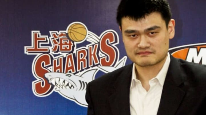 Yao also appeared at a second press conference on December 18 where he urged China to say no to shark fin soup to stop the overfishing of some species amid growing demand for the delicacy. CHINA OUT AFP PHOTO (Photo credit should read AFP/AFP/Getty Images)