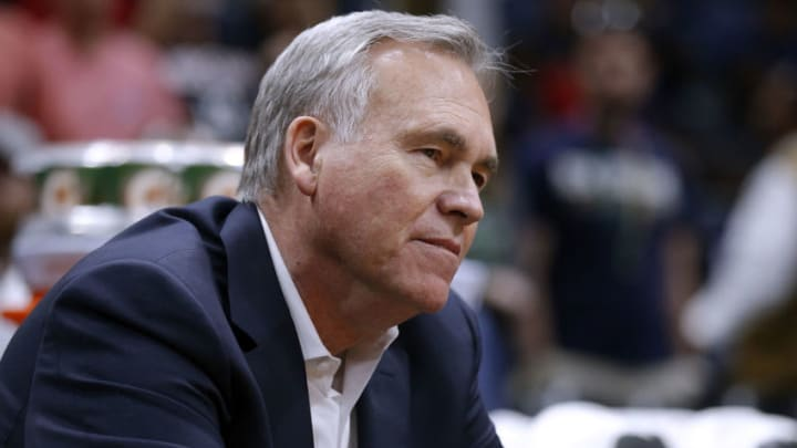 NEW ORLEANS, LA - MARCH 17: Head coach Mike D'Antoni of the Houston Rockets reacts during the first half against the New Orleans Pelicans at the Smoothie King Center on March 17, 2018 in New Orleans, Louisiana. NOTE TO USER: User expressly acknowledges and agrees that, by downloading and or using this photograph, User is consenting to the terms and conditions of the Getty Images License Agreement. (Photo by Jonathan Bachman/Getty Images)