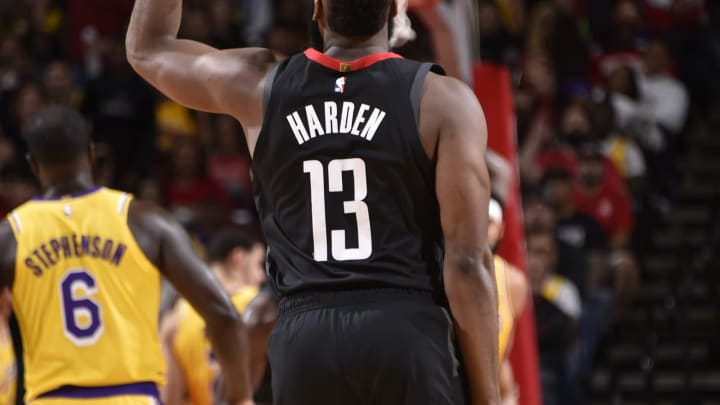 HOUSTON, TX – DECEMBER 13: James Harden #13 of the Houston Rockets reacts to a play during the game against the Los Angeles Lakers on December 13, 2018 at the Toyota Center in Houston, Texas. NOTE TO USER: User expressly acknowledges and agrees that, by downloading and/or using this photograph, user is consenting to the terms and conditions of the Getty Images License Agreement. Mandatory Copyright Notice: Copyright 2018 NBAE (Photo by Bill Baptist/NBAE via Getty Images)