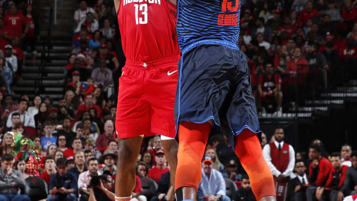 HOUSTON, TX – DECEMBER 25: James Harden #13 of the Houston Rockets shoots the ball against the Oklahoma City Thunder on December 25, 2018 at the Toyota Center in Houston, Texas. NOTE TO USER: User expressly acknowledges and agrees that, by downloading and or using this photograph, User is consenting to the terms and conditions of the Getty Images License Agreement. Mandatory Copyright Notice: Copyright 2018 NBAE (Photo by Jeff Haynes/NBAE via Getty Images)
