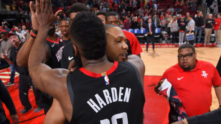 HOUSTON, TX - JANUARY 19: James Harden #13 and Eric Gordon #10 of the Houston Rockets hug after the game against the Los Angeles Lakers on January 19, 2019 at the Toyota Center in Houston, Texas. NOTE TO USER: User expressly acknowledges and agrees that, by downloading and/or using this photograph, user is consenting to the terms and conditions of the Getty Images License Agreement. Mandatory Copyright Notice: Copyright 2019 NBAE (Photo by Bill Baptist/NBAE via Getty Images)