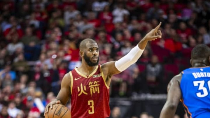 HOUSTON, TX – FEBRUARY 9: Chris Paul #3 of the Houston Rockets handles the ball against the Oklahoma City Thunder on February 9, 2019 at the Toyota Center in Houston, Texas. NOTE TO USER: User expressly acknowledges and agrees that, by downloading and/or using this photograph, user is consenting to the terms and conditions of the Getty Images License Agreement. Mandatory Copyright Notice: Copyright 2019 NBAE (Photo by Zach Beeker/NBAE via Getty Images)