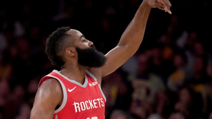 LOS ANGELES, CA - OCTOBER 20: James Harden #13 of the Houston Rockets reacts to his three pointer late in the game leading to a 124-115 victory over the Los Angeles Lakers at Staples Center on October 20, 2018 in Los Angeles, California. (Photo by Harry How/Getty Images)