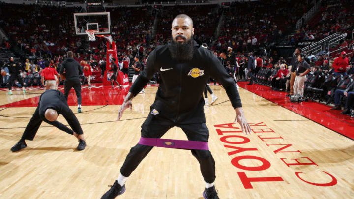 HOUSTON, TX - JANUARY 19 : Tyson Chandler #5 of the Los Angeles Lakers warms up prior to the game against the Houston Rockets on January 19, 2019 at the Toyota Center in Houston, Texas. NOTE TO USER: User expressly acknowledges and agrees that, by downloading and or using this photograph, User is consenting to the terms and conditions of the Getty Images License Agreement. Mandatory Copyright Notice: Copyright 2019 NBAE (Photo by Jeff Haynes/NBAE via Getty Images)
