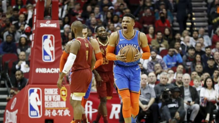 Russell Westbrook #0 of the Oklahoma City Thunder reacts after a shot in the first half against the Houston Rockets (Photo by Tim Warner/Getty Images)