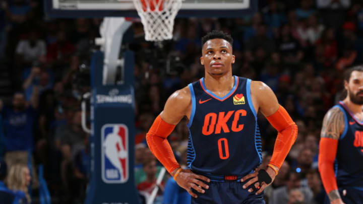 Russell Westbrook #0 of the Oklahoma City Thunder looks on during the game against the Houston Rockets (Photo by Zach Beeker/NBAE via Getty Images)