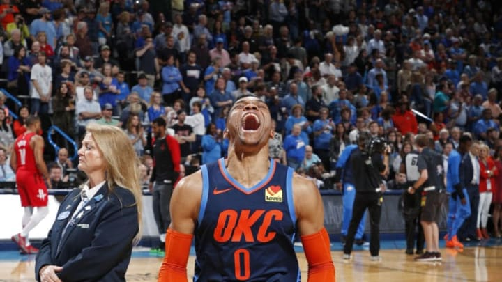 OKLAHOMA CITY, OK - APRIL 9: Russell Westbrook #0 of the Oklahoma City Thunder gets hyped before the game against the Houston Rockets on April 9, 2019 at Chesapeake Energy Arena in Oklahoma City, OK. NOTE TO USER: User expressly acknowledges and agrees that, by downloading and or using this photograph, User is consenting to the terms and conditions of the Getty Images License Agreement. Mandatory Copyright Notice: Copyright 2019 NBAE (Photo by Jeff Haynes/NBAE via Getty Images)