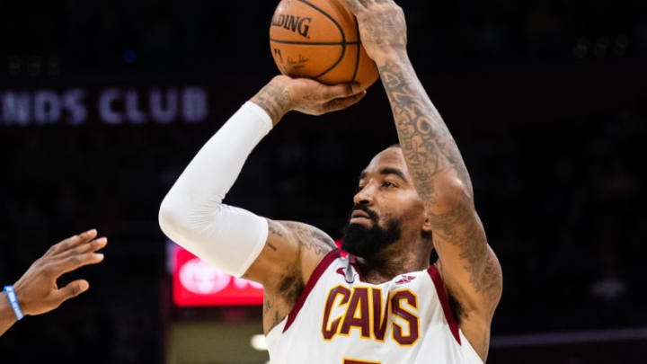 CLEVELAND, OH - NOVEMBER 7: JR Smith #5 of the Cleveland Cavaliers shoots during the second half against the Oklahoma City Thunder at Quicken Loans Arena on November 7, 2018 in Cleveland, Ohio. The Thunder defeated the Cavaliers 95-86. NOTE TO USER: User expressly acknowledges and agrees that, by downloading and/or using this photograph, user is consenting to the terms and conditions of the Getty Images License Agreement. (Photo by Jason Miller/Getty Images)