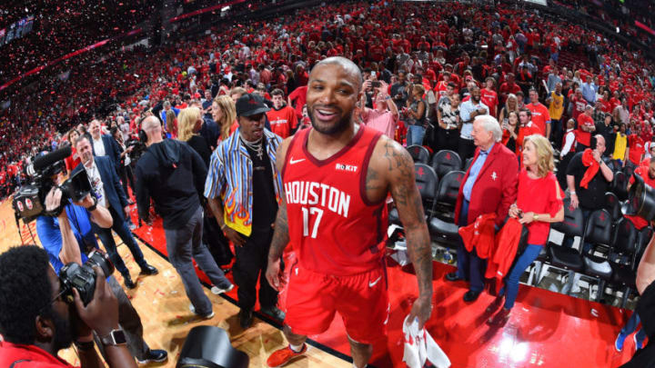 PJ Tucker #17 of the Houston Rockets looks on after Game Three of the Western Conference Semifinals against the Golden State Warriors (Photo by Andrew D. Bernstein/NBAE via Getty Images)