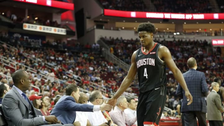 Danuel House Jr. #4 of the Houston Rockets walks to the bench in the first half against the New York Knicks (Photo by Tim Warner/Getty Images)