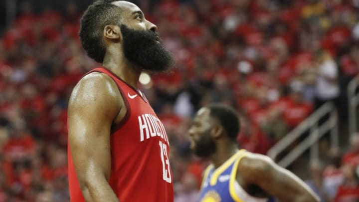 James Harden #13 of the Houston Rockets looks at the scoreboard in the second quarter during Game Three of the Second Round of the 2019 NBA Western Conference Playoffs against the Golden State Warriors (Photo by Tim Warner/Getty Images)