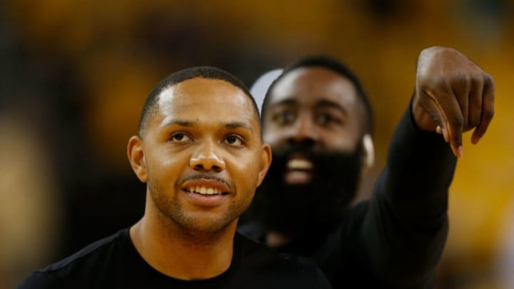 Eric Gordon #10 and James Harden #13 of the Houston Rockets (Photo by Lachlan Cunningham/Getty Images)