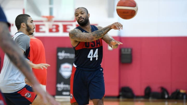 Rockets P.J. Tucker passes the ball during the 2019 USA Basketball Men's National Team Training Camp (Andrew D. Bernstein/NBAE via Getty Images)