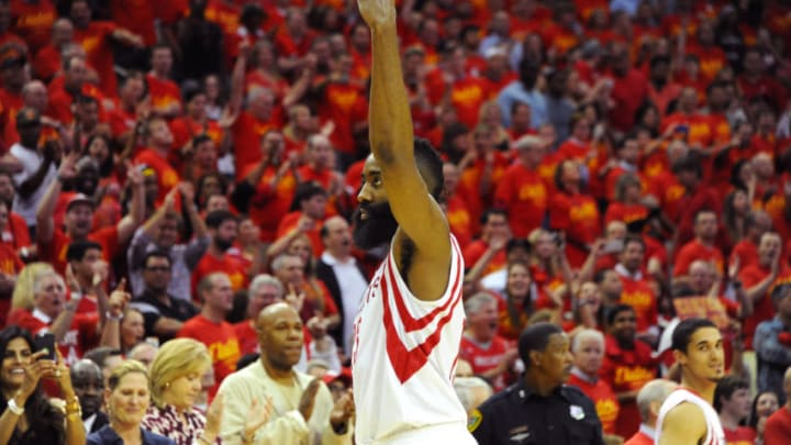 James Harden #13 of the Houston Rockets celebrates in the final seconds of the win against the Los Angeles Clippers (Photo by Bill Baptist/NBAE via Getty Images)