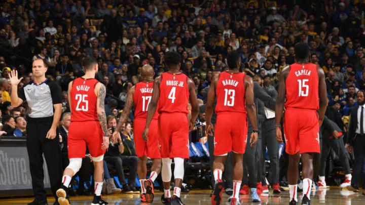Houston Rockets Austin Rivers, PJ Tucker Danuel House Jr. James Harden (Photo by Noah Graham/NBAE via Getty Images)