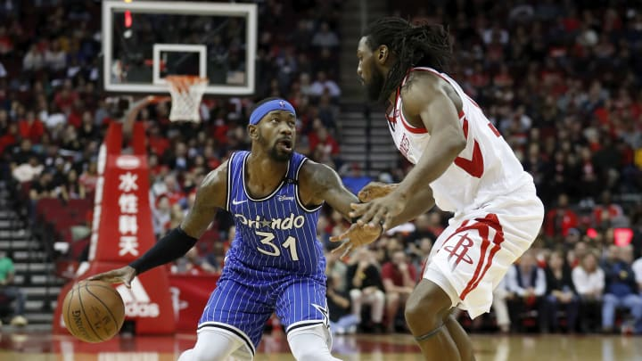 Terrence Ross #31 of the Orlando Magic Kenneth Faried #35 of the Houston Rockets (Photo by Tim Warner/Getty Images)