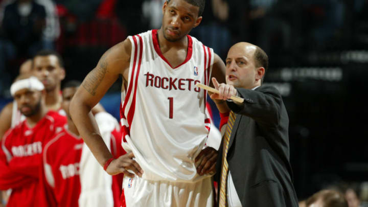 Houston Rockets RAFER ALSTON and head coach, JEFF VAN GUNDY (Photo by Robert Seale/Sporting News via Getty Images via Getty Images)