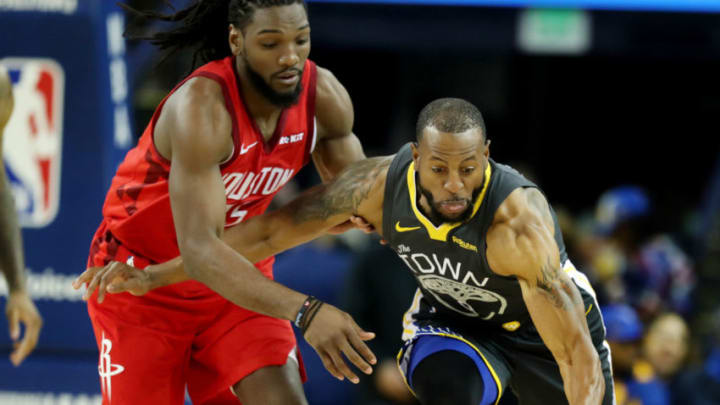 Golden State Warriors' Andre Iguodala (9) steals the ball against Houston Rockets (Ray Chavez/MediaNews Group/The Mercury News via Getty Images)