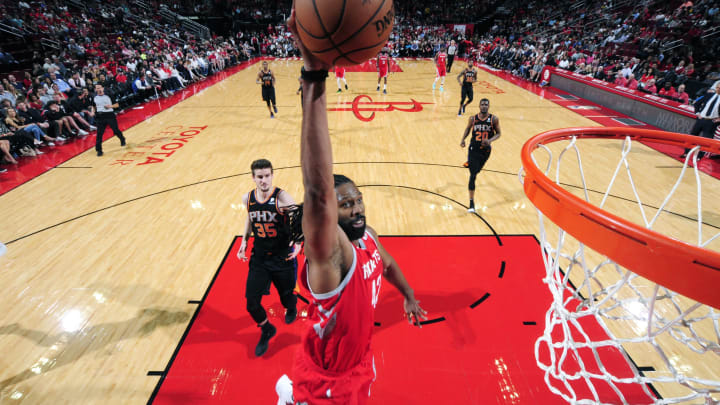 HOUSTON, TX – APRIL 7: Nene Hilario #42 of the Houston Rockets dunks the ball against the Phoenix Suns on April 7, 2019 at the Toyota Center in Houston, Texas. NOTE TO USER: User expressly acknowledges and agrees that, by downloading and/or using this photograph, user is consenting to the terms and conditions of the Getty Images License Agreement. Mandatory Copyright Notice: Copyright 2019 NBAE (Photo by Bill Baptist/NBAE via Getty Images)