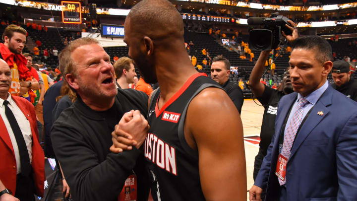 Owner Tilman Fertitta is seen with Chris Paul #3 of the Houston Rockets (Photo by Bill Baptist/NBAE via Getty Images)