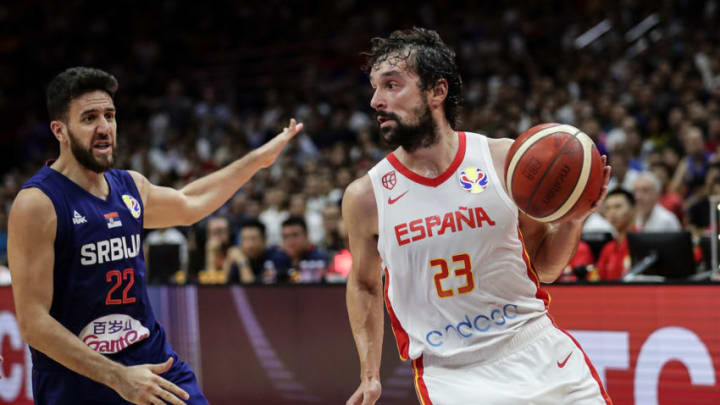 Sergio Llull #23 of Spain drives against Serbia during FIBA Basketball World Cup China 2019 at Wuhan Sports Center on September 08 , 2019 in Wuhan, China.