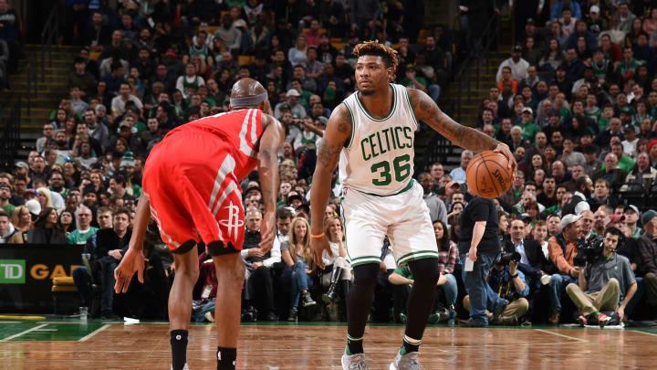 Marcus Smart #36 of the Boston Celtics Houston Rockets (Photo by Steve Babineau/NBAE via Getty Images)