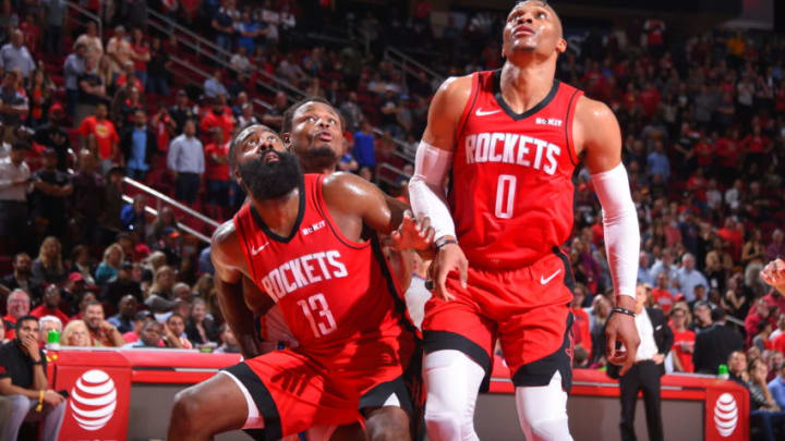 Houston Rockets James Harden Russell Westbrook (Photo by Bill Baptist/NBAE via Getty Images)