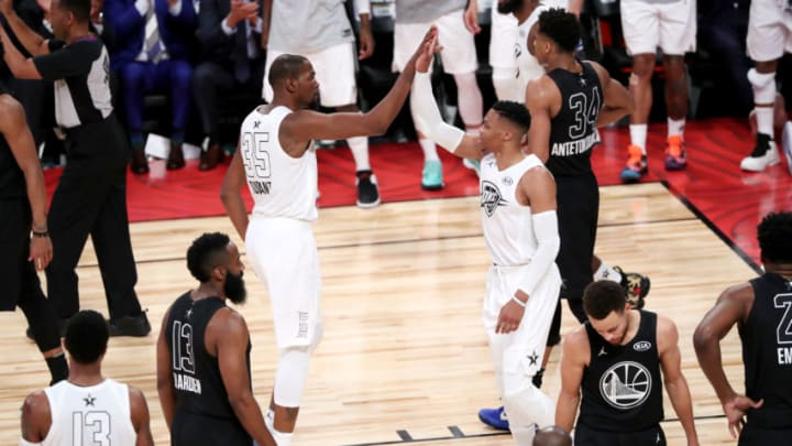 Brooklyn Nets forward Kevin Durant #35 and Houston Rockets guard Russell Westbrook #0 (Photo by Joe Murphy/NBAE via Getty Images)