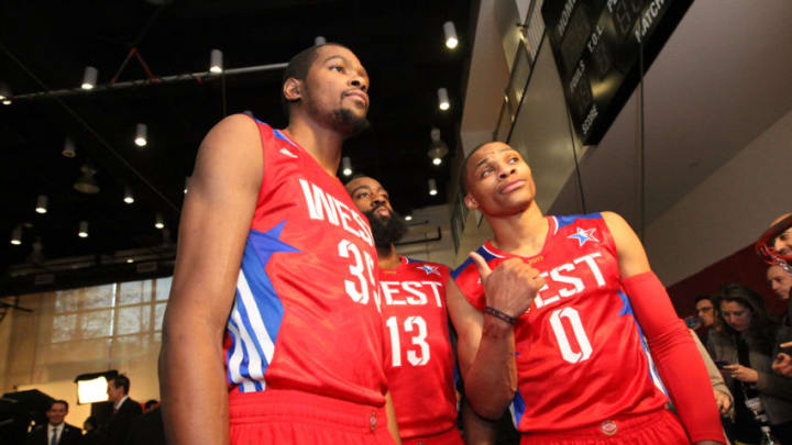 Brooklyn Nets' Kevin Durant #35, Houston Rockets' James Harden #13 and Russell Westbrook #0 of the Western Conference All-Stars (Photo by Bruce Yeung/NBAE via Getty Images)