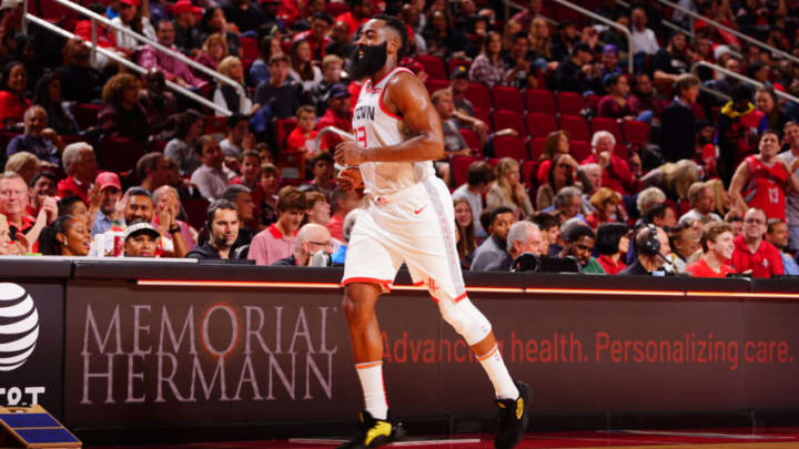 James Harden #13 of the Houston Rockets runs up the court against the Atlanta Hawks (Photo by Cato Cataldo/NBAE via Getty Images)