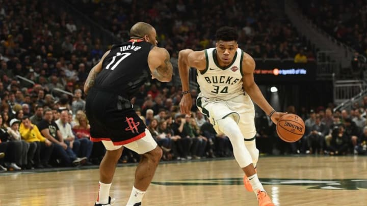 Giannis Antetokounmpo P.J. Tucker (Photo by Stacy Revere/Getty Images)