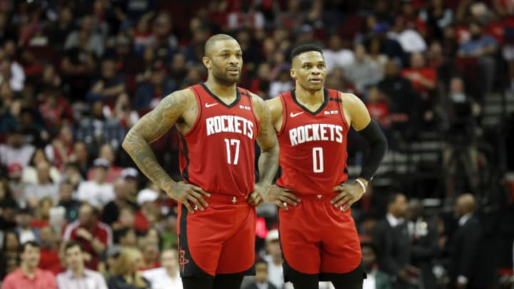 Houston Rockets P.J. Tucker Russell Westbrook (Photo by Tim Warner/Getty Images)