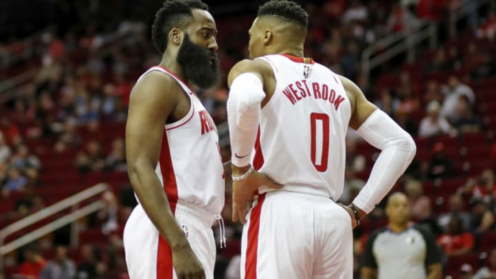 Houston Rockets Russell Westbrook James Harden (Photo by Tim Warner/Getty Images)
