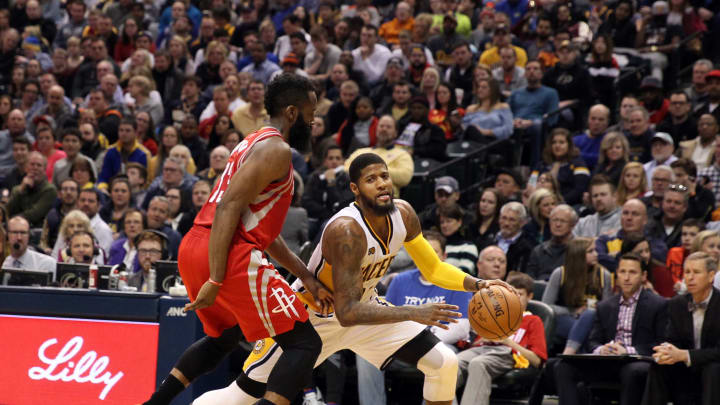 Jan 29, 2017; Indianapolis, IN, USA; Indiana Pacers forward Paul George (13) drives to the basket against Houston Rockets guard James Harden (13) at Bankers Life Fieldhouse. Indiana defeats Houston 120-101. Mandatory Credit: Brian Spurlock-USA TODAY Sports