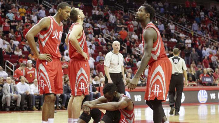 Feb 2, 2017; Houston, TX, USA; A dejected Houston Rockets guard