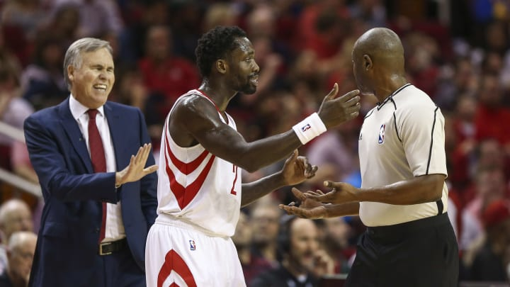Jan 20, 2017; Houston, TX, USA; Houston Rockets guard Patrick Beverley (2) talks with an official during the second quarter against the Golden State Warriors at Toyota Center. Mandatory Credit: Troy Taormina-USA TODAY Sports