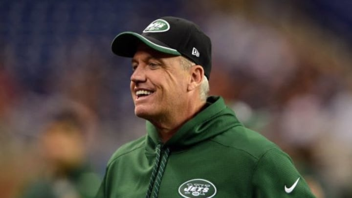 Nov 24, 2014; Detroit, MI, USA; New York Jets head coach Rex Ryan against the Buffalo Bills at Ford Field. Mandatory Credit: Andrew Weber-USA TODAY Sports