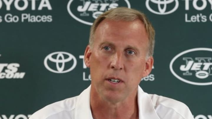 Jul 25, 2013; Cortland, NY, USA; New York Jets general manager John Idzik talks to media during training camp at SUNY Cortland. Mandatory Credit: William Perlman/THE STAR-LEDGER via USA TODAY Sports