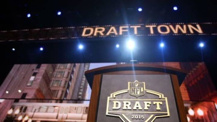 Apr 30, 2015; Chicago, IL, USA; A general view of the podium on stage before the 2015 NFL Draft at the Auditorium Theatre of Roosevelt University. Mandatory Credit: Jerry Lai-USA TODAY Sports