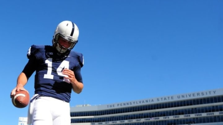 Sep 27, 2014; University Park, PA, USA; Penn State Nittany Lions quarterback Christian Hackenberg (14) warms up prior to the game against the Northwestern Wildcats at Beaver Stadium. Mandatory Credit: Evan Habeeb-USA TODAY Sports