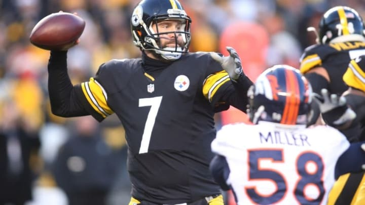 Dec 20, 2015; Pittsburgh, PA, USA; Pittsburgh Steelers quarterback Ben Roethlisberger (7) passes the ball against the Denver Broncos during the first quarter at Heinz Field. Mandatory Credit: Charles LeClaire-USA TODAY Sports