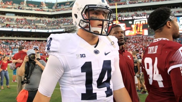Sep 5, 2015; Philadelphia, PA, USA; Penn State Nittany Lions quarterback Christian Hackenberg (14) walks off the field following the competition of the game against the Temple Owl at Lincoln Financial Field. Temple defeated Penn State 27-10. Mandatory Credit: Matthew O