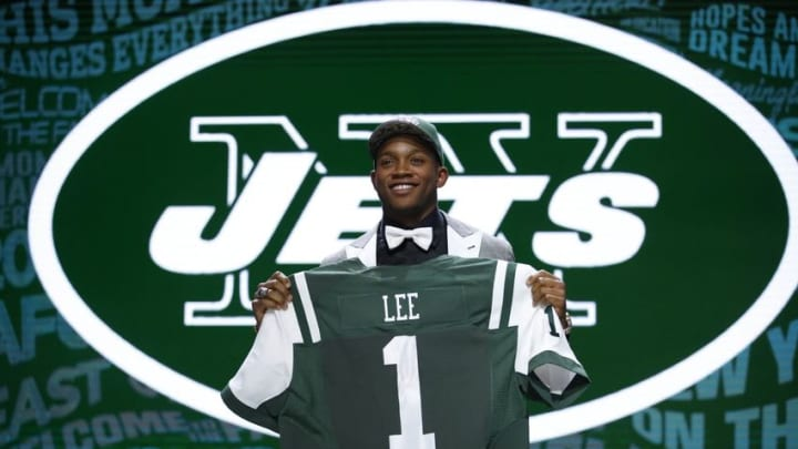 Apr 28, 2016; Chicago, IL, USA; Darron Lee (Ohio State) after being selected by the New York Jets as the number twenty overall pick in the first round of the 2016 NFL Draft at Auditorium Theatre. Mandatory Credit: Kamil Krzaczynski-USA TODAY Sports