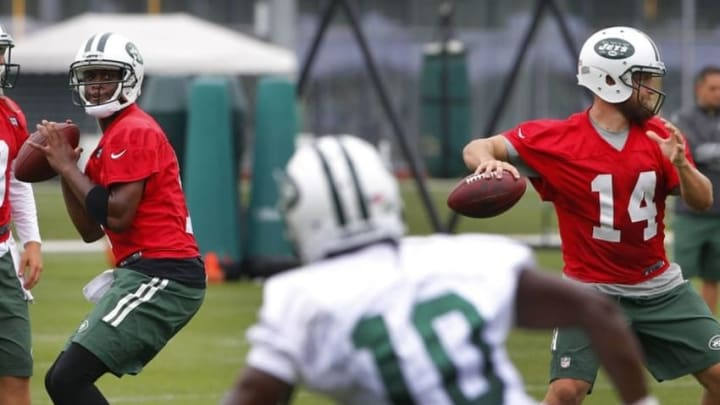 Jul 30, 2015; Florham Park, NJ, USA; New York Jets quarterback Geno Smith (7) attempts a pass to wide receiver T.J. Graham (10) during first day of training camp at Atlantic Health Jets Training Center. Mandatory Credit: Noah K. Murray-USA TODAY Sports