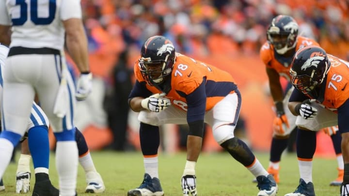 Jan 11, 2015; Denver, CO, USA; Denver Broncos tackle Ryan Clady (78) prepares to block in the second quarter of the 2014 AFC Divisional playoff football game against the Indianapolis Colts at Sports Authority Field at Mile High. Mandatory Credit: Ron Chenoy-USA TODAY Sports