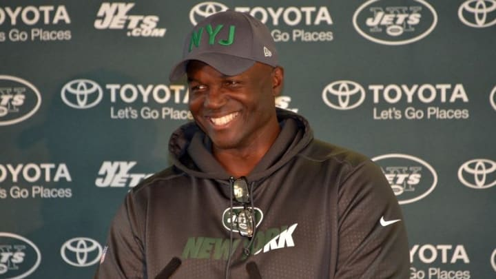 Oct 2, 2015; Sunbury-on-Thames, United Kingdom; New York Jets coach Todd Bowles at press conference after practice at the Hazelwood in advance of the NFL International Series game against the Miami Dolphins. Mandatory Credit: Kirby Lee-USA TODAY Sports