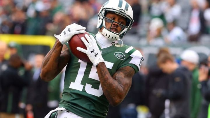 Dec 27, 2015; East Rutherford, NJ, USA; New York Jets wide receiver Brandon Marshall (15) catches a pass during the warmups for their game against the New England Patriots at MetLife Stadium. Mandatory Credit: Ed Mulholland-USA TODAY Sports